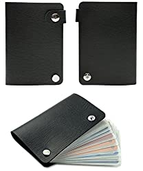 10 Slot Credit Card Wallet Style Holder with Snaps (Black)