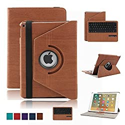 iPad Pro 9.7 inch Keyboard Case,Dingrich 360 Degree Rotating Case with Magnetic Detachable Bluetooth Keyboard for Apple iPad Pro 9.7 + Screen Protector + Stylus(Brown)