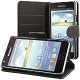 Ecence 11010203 - Funda con tarjetero y protector de pantalla para Samsung Galaxy S2 i9100 / S2 Plus i9105, color negro