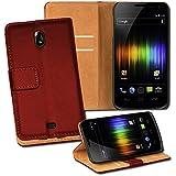 OneFlow PREMIUM - Book-Style Case im Portemonnaie Design mit Stand-Funktion - für Samsung Galaxy Nexus (i9250) - BURGUNDERROT