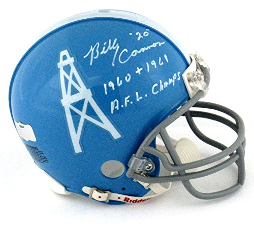 "Billy Cannon Signed Houston Oilers Throwback Riddell NFL Mini Helmet with ""1960 + 1961 AFL Champs"" Inscription"