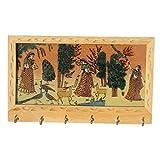 Handicraft Paradise Real Gemstone Pine Wood Tripple Ragini Design Key Holder