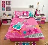 Pink Rock Guitar Comforter Bedding Set Twin
