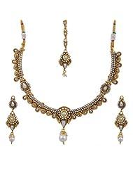Gold Finish Pearl Studded Necklace Set - B00KG01DKA