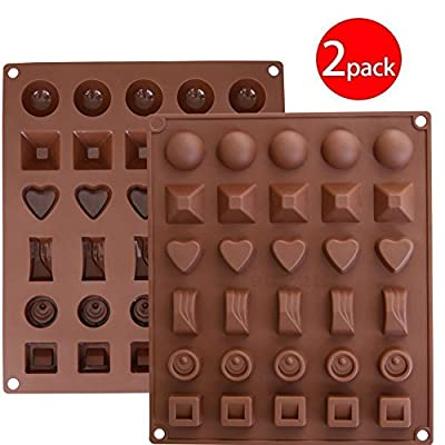 Cy3Lf Silicone Chocolate, Jelly and Candy Mold, Cake Baking Mold, 30-Cavity, Set of 2, Brown- (PACK OF 2)