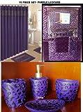 19 Piece Bath Accessory Set Purple Leopard Bathroom Rugs & Shower Curtain & Accessories