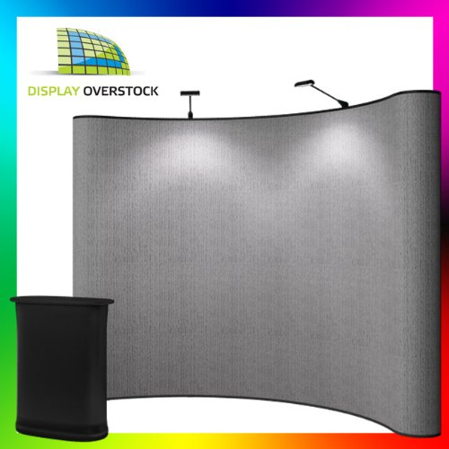 Gray Velcro - Premium 10' Pop Up Display - Trade Show Booth Exhibit - Includes Ez Counter And Led Lights!