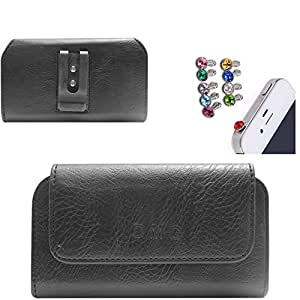 DMG Premium PU Leather Cell Phone Pouch Carrying Case with Belt Clip Holster for Lenovo S660 (Black) + 3.5mm Jewel Dust Jack