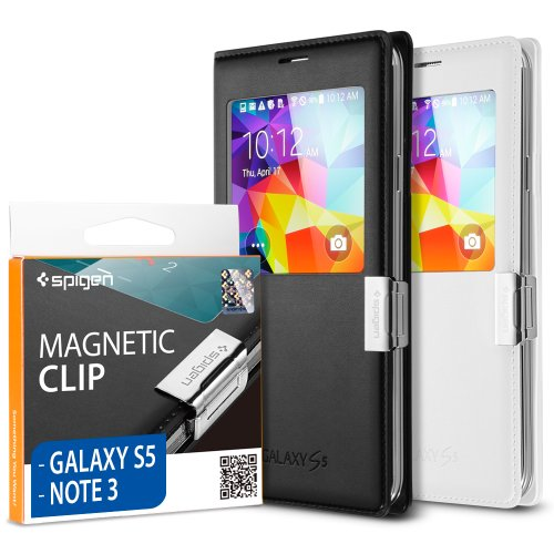 Spigen® Samsung Galaxy S5 / Galaxy Note 3 Flip Cover [Magnetic Clip] Magnetic Holder for Samsung S View Cover / Flip Cover for Samsung Galaxy S5 & Samsung Galaxy Note III **Cover is not included** - Magnetic Clip (SGP10688)