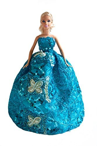 Barbie Blue Sequin Embroidered Gown with Butterflies, Bride Barbie Blue Sequin Gown - Dolls NOT Included - 1