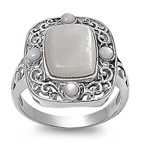 Sterling Silver Woman'S Mother Of Pearl Ring Wholesale Comfort Fit 925 Band 20Mm Size 10 Valentines Day Gift