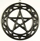 Wall Plaque Black Wood Pentagram 12 Inch