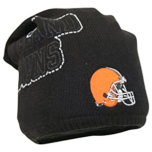 NFL Black Big Logo Winter Knit Hat / Beanie (Cleveland Browns)
