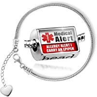 Charm Set Medical Alert Red Allergy Alert 1 Carry an Epipen - Bead comes with Bracelet , Neonblond by NEONBLOND