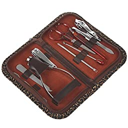 Bleiou 10pcs Nail Care Manicure Clipper Scissor Tweezer Pedicure Set Kit with Case