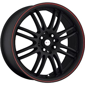 Focal F-16 17 Black Red Wheel / Rim 4×100 & 4×4.25 with a 42mm Offset and a 73 Hub Bore. Partnumber 163-7701B
