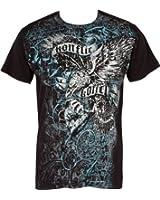 Sakkas Aigle trônant sur Couronne En relief argent métallique Manches courtes Col rond Coton T-Shirt Fashion homme