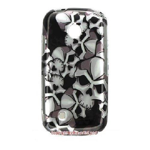 LG Cosmos Touch VN270 Silver Black 2D Skulls Premium Design Phone Protector Hard Cover Case + Bonus 5.5