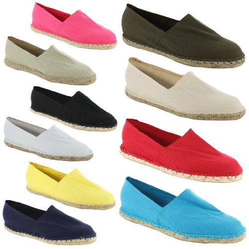 New Ladies Casual Espadrille Canvas Pumps Plims