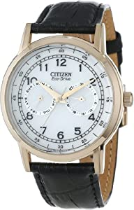 """Citizen Men's AO9003-16A """"Eco-Drive"""" Rose Gold-Tone Stainless Steel Watch with Black Leather Band"""