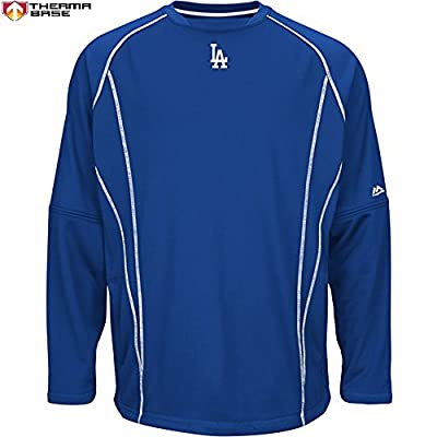 Los Angeles Dodgers MLB Men's Therma Base On-Field Practice Pullover Fleece - Blue