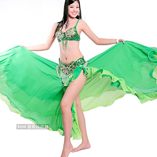 OverBling Performance Dancewear Belly Dance Costume Set Dancing Top Belt Skirt