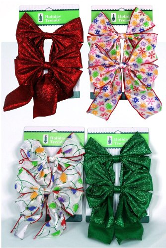 Berwick Industries WB100301 2-Count 5-3/4-Inch by 8-Inch Assorted Holiday Bows