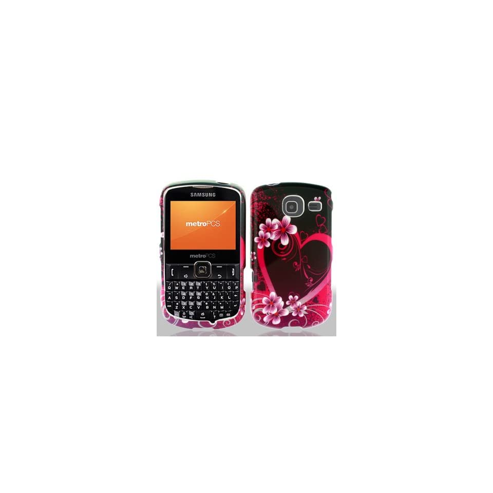 Samsung Freeform 4 IV R390 R 390 Black with Hot Pink Love Hearts Flowers Design Snap On Hard Protective Cover Case Cell Phone