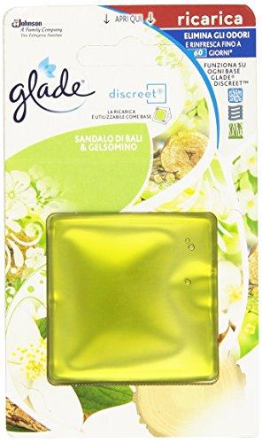 Glade - Discreet, Ricarica Elimina gli Odori e Rinfresca, Sandalo di Bali e Gelsomino , 8 g, fragranze assortite