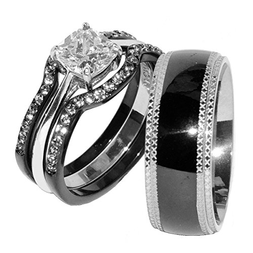 His & Hers 4 PCS Black IP Stainless Steel CZ Wedding Ring Set/Mens Matching Band-SIZE W7M9