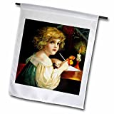 VintageChest - Christmas - Clapsaddle - Girl writing Wishlist - 12 x 18 inch Garden Flag (fl_125948_1)