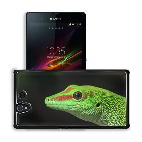 Green Gecko Bumpy Scales Reptile Sony Xperia Z 5.0 C6603 C6602 Snap Cover Premium Aluminium Design Back Plate Case Customized Made To Order Support Ready 5 4/8 Inch (140Mm) X 2 7/8 Inch (73Mm) X 7/16 Inch (11Mm) Msd Sony Xperia Z Cover Professional Metal