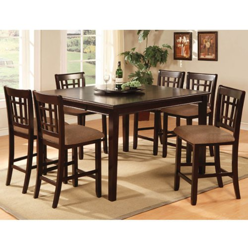 Kendall Dark Cherry Finish Counter Height 9-Piece Dining Room Table Set