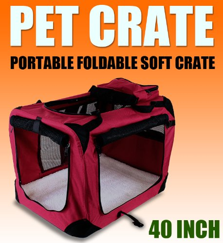 New Xl Dog Pet Puppy Portable Foldable Soft Crate Playpen Kennel House - Red front-1016468