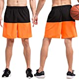 (クールオーエムジー)COOLOMG スポーツ ハーフパンツ 二色スプライス オレンジ 2XL