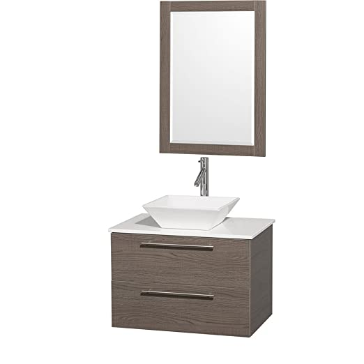 "Wyndham Collection Amare 30"" Single Bathroom Vanity in Grey Oak, White Man-Made Stone Countertop, White Porcelain Sink & 24"" Mirror"