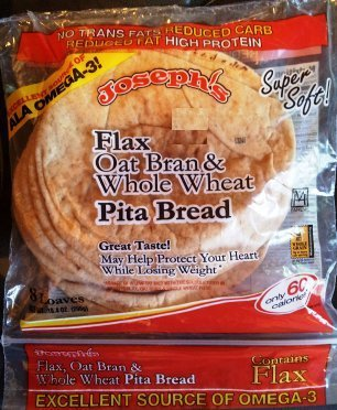 Josephs Flax Oat Bran and Whole Wheat Pita Bread, 8 oz. (Pack of 2) (Pita Bread Wheat compare prices)