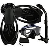 PROMATE Snorkeling Scuba Dive Panoramic PURGE Mask Dry Snorkel Fins Gear Set