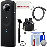 Ricoh Theta S 360-Degree Spherical Digital Camera (Black) with 360 Time Lapse + Power Pack + Selfie Stick + HDMI Cable + Kit
