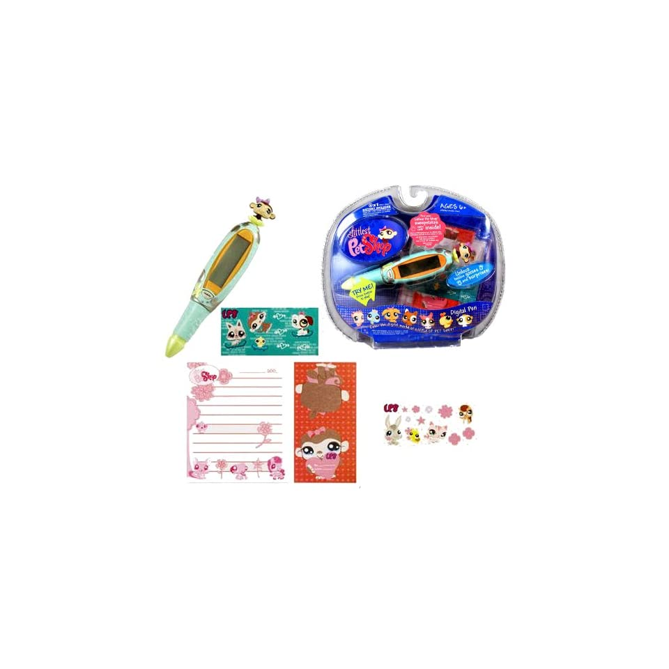 Hasbro Year 2007 Littlest Pet Shop Digital Pen Series Virtual Game   MONKEY Digital Game Pen with 6 Fun Games, 1 Pad of Paper and 2 Sticker Sheets