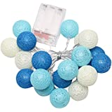 Rrimin Battery 20PCS Christmas Lights Garland String Lights Cotton Ball Light New (Beige)