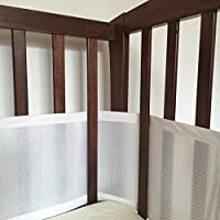 Premium SafeBaby Breathable Mesh Crib Liner, Bumper - White, Safe, 1 Piece Adjustable Design Super Easy to Install for Cribs with Rails, Solid Ends and Mini Cribs + Free Bag for Kids Toys from SafeBaby