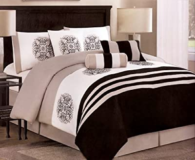 7-Pieces Embroidery Medallion Comforter Set Bed-In-A-Bag Queen Black, Taupe, White