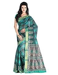 Roopkala Cotton Silk Green Checks Saree