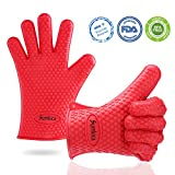 Thicker Silicone Grilling BBQ Barbecue Gloves - Heat Resistant Non-Slip Kitchen Cooking Gloves For Baking, Smoking, Pot Holders, BPA Free Oven Mitts, Easy To Remove And Clean
