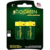 Perfpower Go Green Alkaline Battery, C, 2 Count