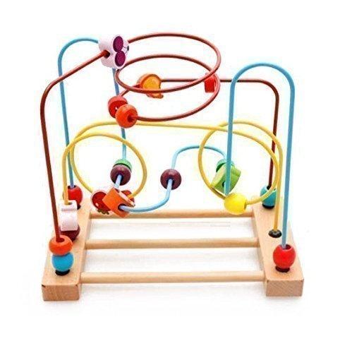 木のおもちゃ ローラーコースター シンプルファンの素晴らしいギフト木のつみきカラフルフルーツ型ビーズコースタービーズメイズルーピング幼児知育玩具 男女兼用