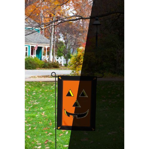 "18"" Small Fiber Optic Led Lit Halloween Jack O' Lantern Flag"