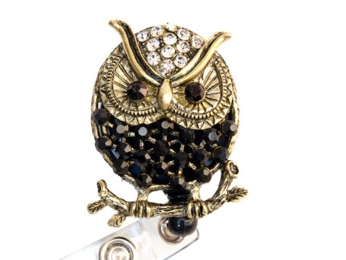Rhinestone Owl Retractable Badge Reel/ Bling