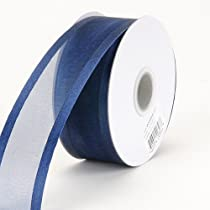 Navy Blue Organza Ribbon Two Striped Satin Edge 3/8 inch 25 Yards